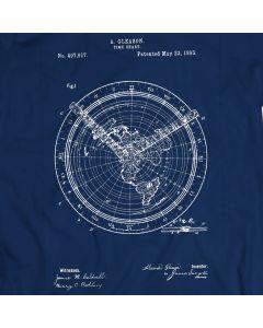 Weltweites Zeitdiagramm Weinlese Patent 1893 T-Shirt Mens Geschenk Idee