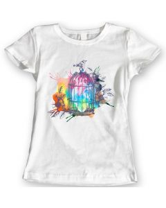 Herz-Käfig-T-Shirts Aquarell-Weinlese-Vogel-Damen-Geschenk-Idee 100% Baumwolle